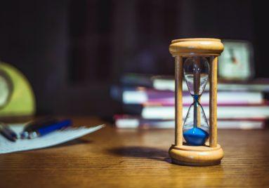sand timer on a desk